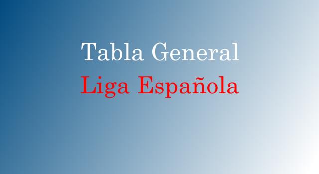 Tabla General de la Liga Española hasta la Jornada 17