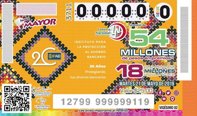 Loteria Nacional Sorteo Mayor No. 3711 en Vivo – Martes 21 de Mayo del 2019