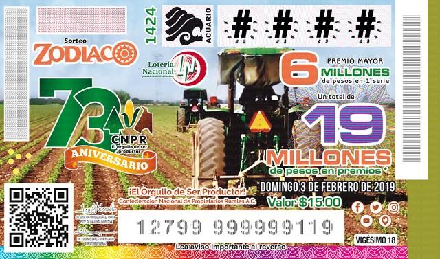 Loteria Nacional Sorteo Zodiaco No. 1424 en Vivo – Domingo 3 de Febrero del 2019