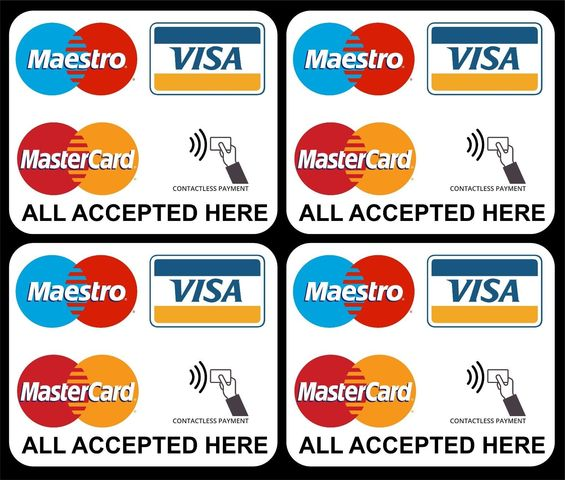 Details about 13 x VISA MAESTRO MASTERCARD CONTACTLESS ACCEPTED STICKERS FOR  SHOP TAXI EPOS 13S