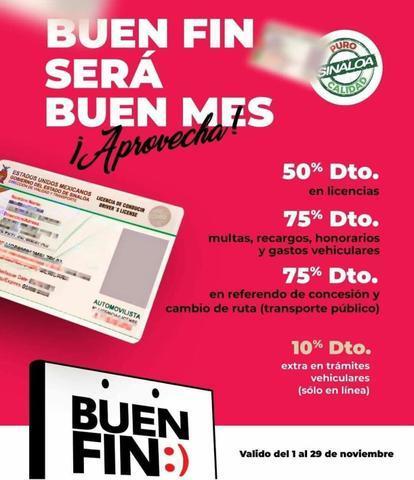 Ofertas del Buen Fin 2019 del Gobierno de Sinaloa