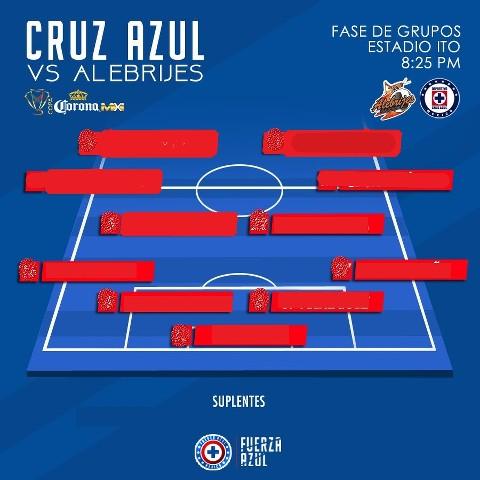Alineación de Cruz Azul vs Alebrijes de Oaxaca en la Copa MX