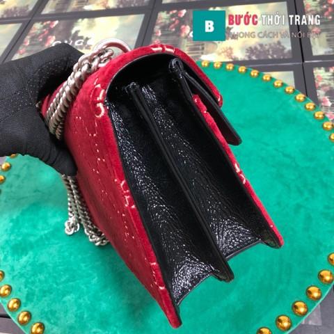 Túi Xách Gucci Dionysus Small Size 28 cm chất nhung hoa văn màu đỏ