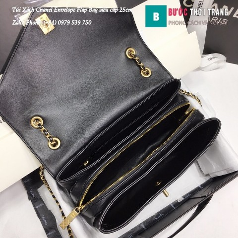 Túi Xách Chanel Envelope Flap Bag siêu cấp màu xanh đen 25cm - A57432