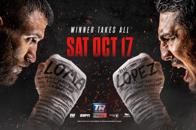 Vasyl Lomachenko vs Teofimo Lopez en Vivo – Box – Sábado 17 de Octubre del 2020
