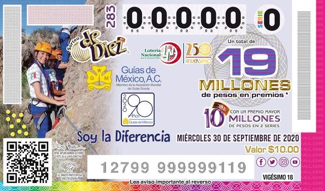 Lotería Nacional Sorteo de Diez No. 283 en Vivo – Miércoles 30 de Septiembre del 2020