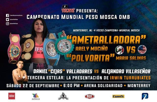 Arely «Ametralladora» Muciño vs María «Mary» Salinas en Vivo – Box – Sábado 22 de Septiembre del 2018