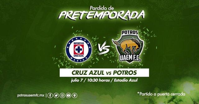 Cruz Azul vs Potros UAEM en Vivo – Partido Amistoso – Sábado 7 de Julio del 2018