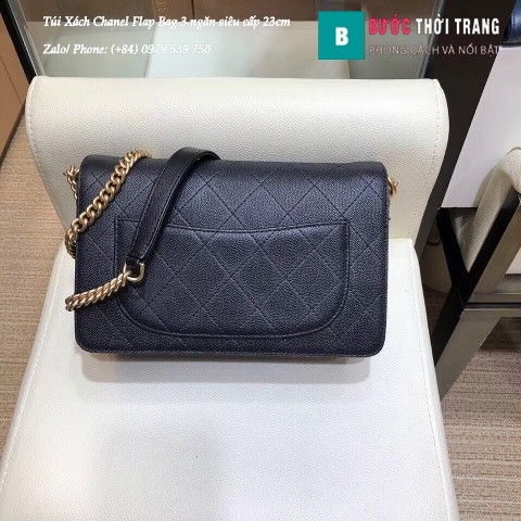 Túi Xách Chanel Flap Bag 3 ngăn siêu cấp màu đen size 23cm