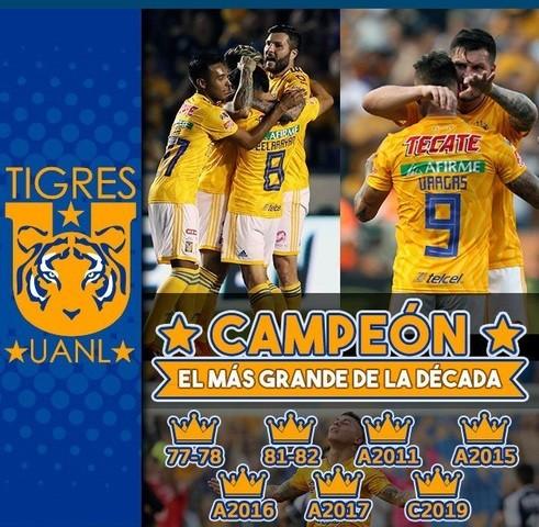 Tigres de la UANL llega a siete títulos en el futbol mexicano