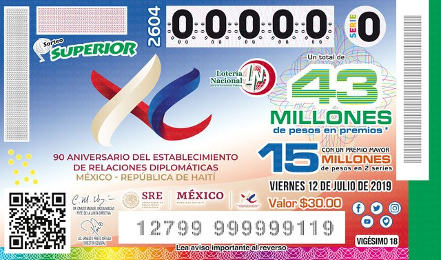 Loteria Nacional Sorteo Superior No. 2604 en Vivo – Viernes 12 de Julio del 2019