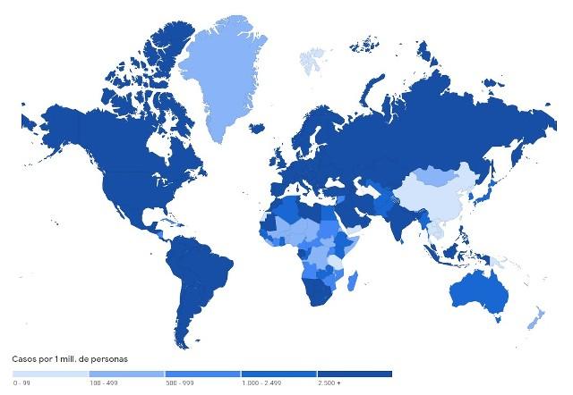 Mapa con la expansión del Coronavirus en México y el Mundo en Vivo – Miércoles 22 de Septiembre del 2021