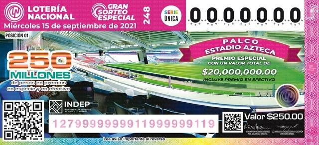 Lotería Nacional Lista de Ganadores del Gran Sorteo Especial No. 248 que se jugo el Miércoles 15 de Septiembre del 2021