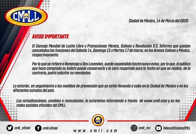Lucha Libre CMLL en México suspende funciones por Coronavirus