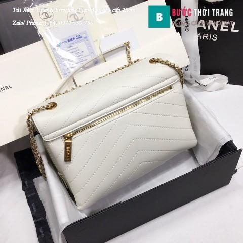 Túi Xách Chanel Envelope Flap Bag siêu cấp màu xanh trắng 25cm - A57432