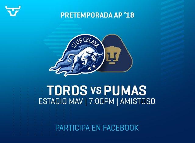 Celaya vs Pumas en Vivo – Partido Amistoso – Sábado 30 de Junio del 2018