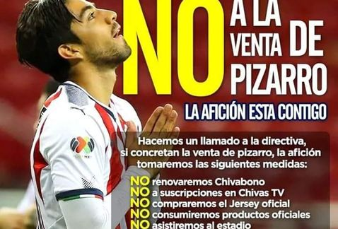 Aficionados amenazan a directiva de Chivas por venta de Pizarro