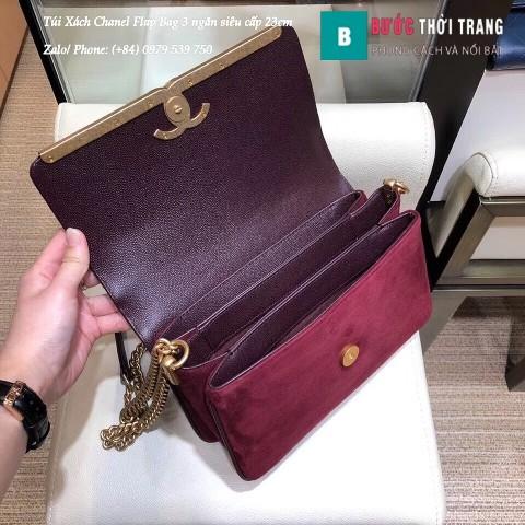 Túi Xách Chanel Flap Bag 3 ngăn siêu cấp màu rượu đỏ size 23cm