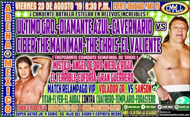 Lucha Libre de la CMLL desde la Arena México en Vivo – Viernes 23 de Agosto del 2019