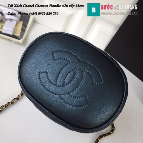 Túi Xách Chanel Chevron Handle with Chic Bucket siêu cấp xanh đen 12cm - A57861