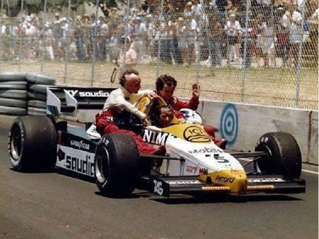 Grande Prêmio dos Estados Unidos de 1984: o francês Jacques Laffite, o francês Alain Prost e o austríaco Niki Lauda
