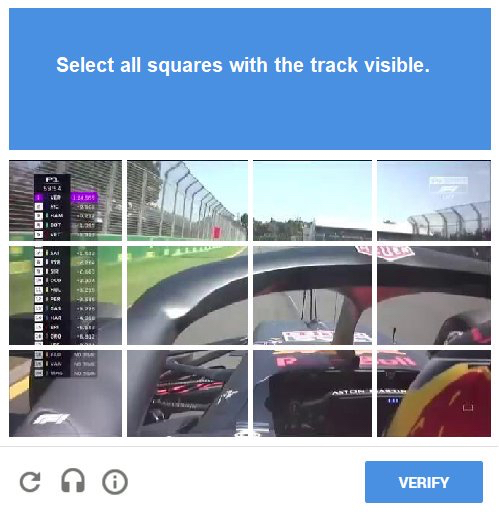 F1 2018 Australian Grand Prix Google reCAPTCHA is getting harder...