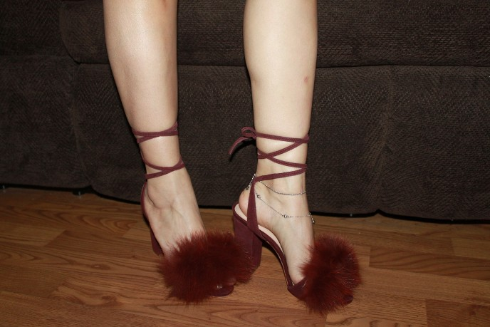 61fc083ec9f Details about LOEFFLER RANDALL Fur Block Heels Brown Shoes Sz 5 BNIB!