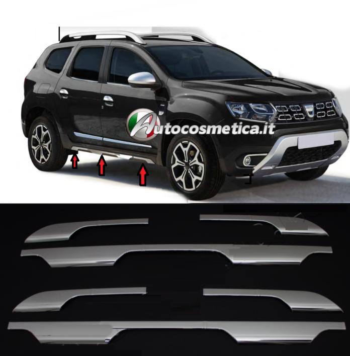 Cromature sottoporta minigonne cromate in acciaio per Dacia Duster II dal 2018**