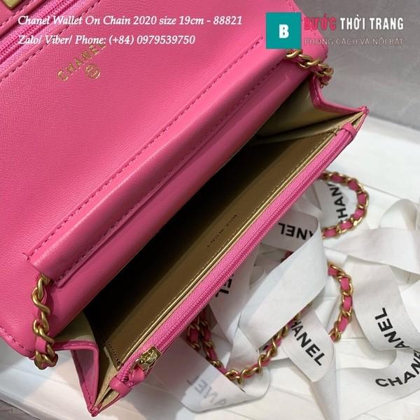 Túi Xách Chanel Classic Wallet On Chain siêu cấp 2020 size 19cm màu hồng - A88821