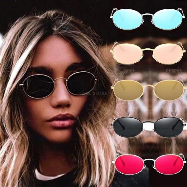 per uomini eleganti rotondi donne e ragazze Black Frame Grey Lens Occhiali da sole piccoli ovali HD Aolvo stile vintage