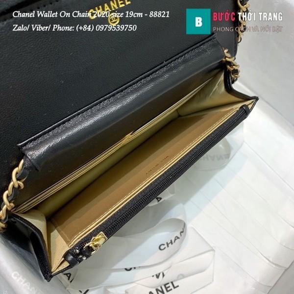 Túi Xách Chanel Classic Wallet On Chain siêu cấp 2020 size 19cm màu đen - A88821