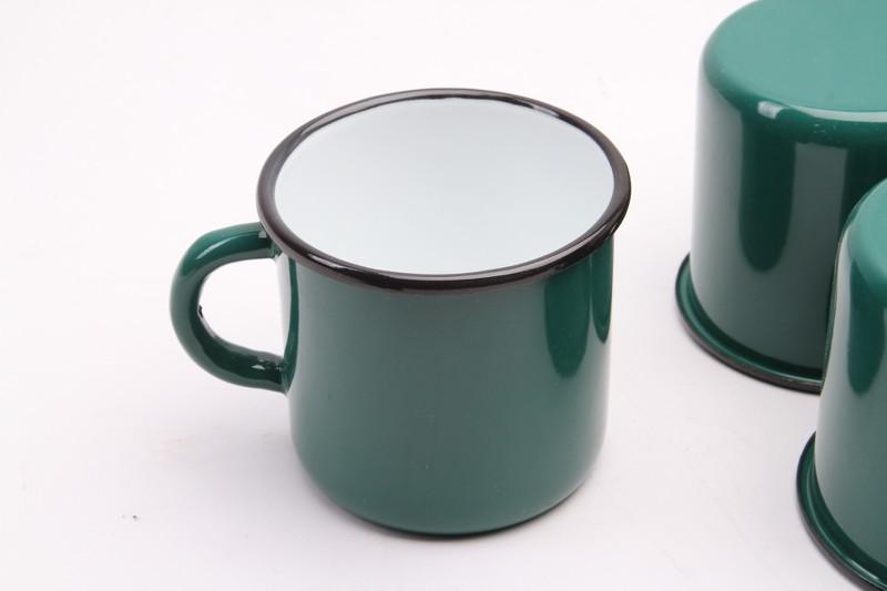 GELB Email Tasse Emaille Kaffee Becher Camping mug Metal 400 ml NEU yelow