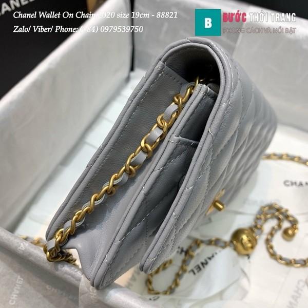 Túi Xách Chanel Classic Wallet On Chain siêu cấp 2020 size 19cm màu ghi xanh - A88821