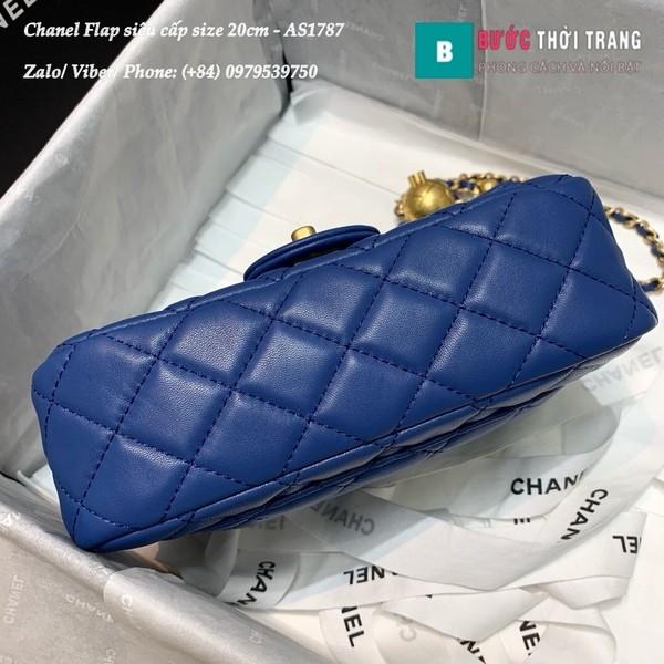 Túi Xách Chanel Flap Bag siêu cấp da cừu màu xanh blue size 20cm - AS1787