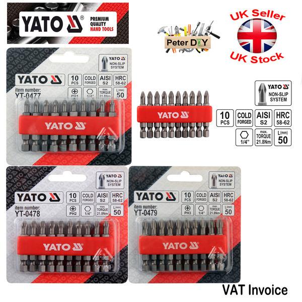 "YT-0473-4 BITS PHILLIPS PH0 PH1 10 PCS Yato Professional NON SLIP 25mm 1/"""