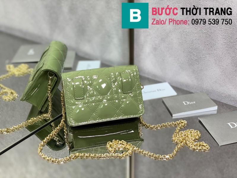 Túi xách Lady Dior Nano Pouck siêu cấp da bê màu xanh ngọc size 13.5cm -D6401