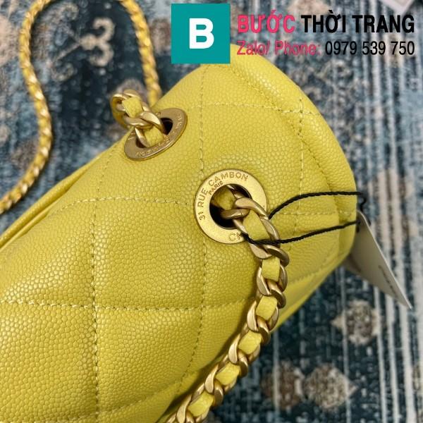 Túi đeo chéo Chanel siêu cấp da bê màu vàng size 30cm - AS2358