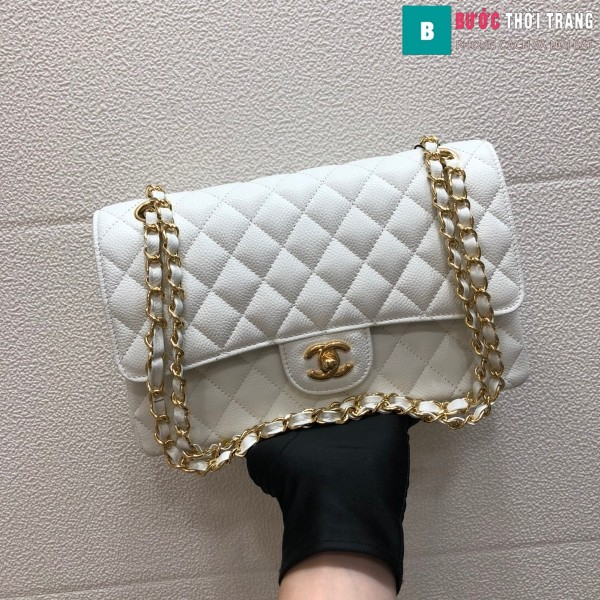 Túi xách Chanel Classic siêu cấp màu trắng size 25 cm - 1112