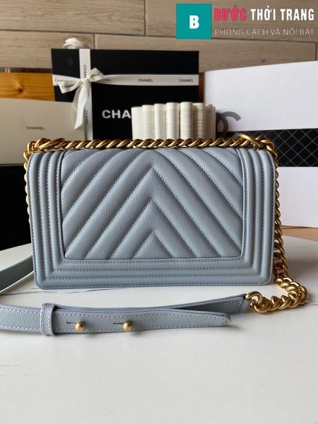 Túi xách Chanel boy siêu cấp vân v màu xanh cốm size 25 cm - A67086