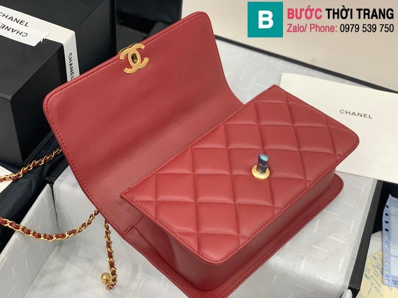 Túi xách Chanel Lambskin Classic Flap Bag siêu cấp da cừu màu đỏ đô size 23cm - AS9916