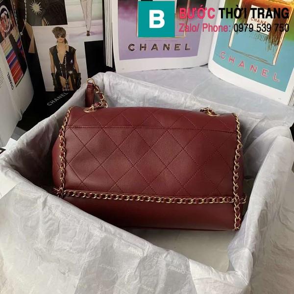 Túi đeo chéo Chanel siêu cấp da bê viền xích màu đỏ đô size 28cm - AS2396