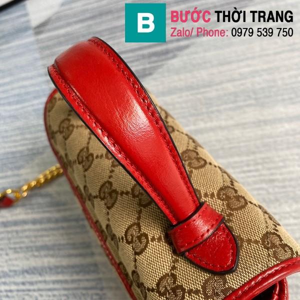 Túi xách Gucci Marmont mini top handle siêu cấp vải casvan viền đỏ size 21cm - 583571