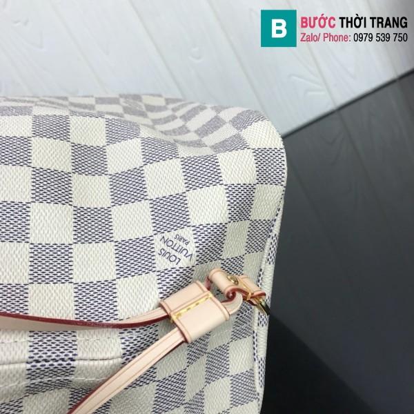 Túi xách Louis Vuitton Neverfull GM siêu cấp màu trắng hồng kẻ cá rô size 40 cm - M41360