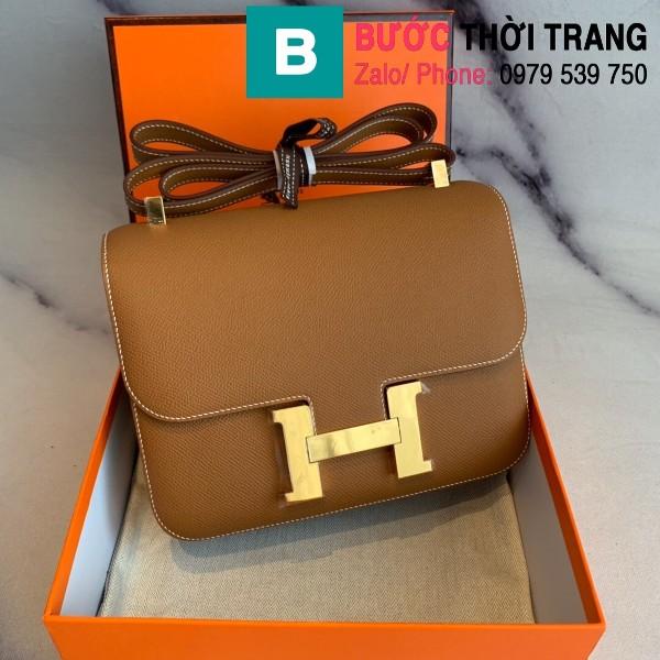 Túi xách Hermes Constance siêu cấp da epsom màu nâu bò size 18cm