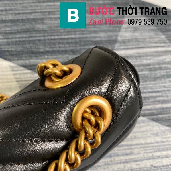 Túi xách Gucci Marmont matelasé mini bag siêu cấp màu đen size 22cm - 446744
