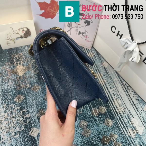 Túi đeo chéo Chanel siêu cấp da bê màu xanh đen size 30cm - AS2358