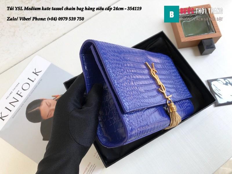 Túi YSL Medium kate tassel chain màu xanh blue