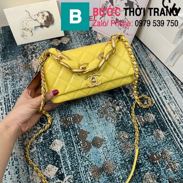 Túi đeo chéo Chanel siêu cấp nắp gập da cừu màu vàng size 23cm - AS2388