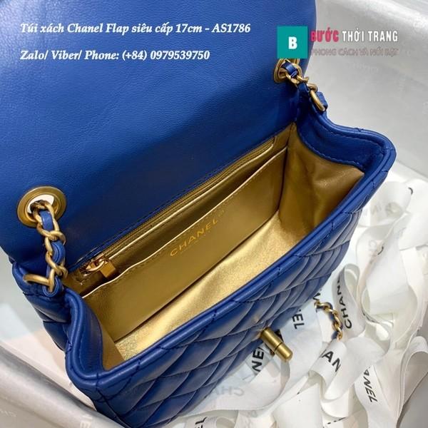 Túi Xách Chanel Flap Bag siêu cấp da cừu màu xanh blue size 17cm - AS1786