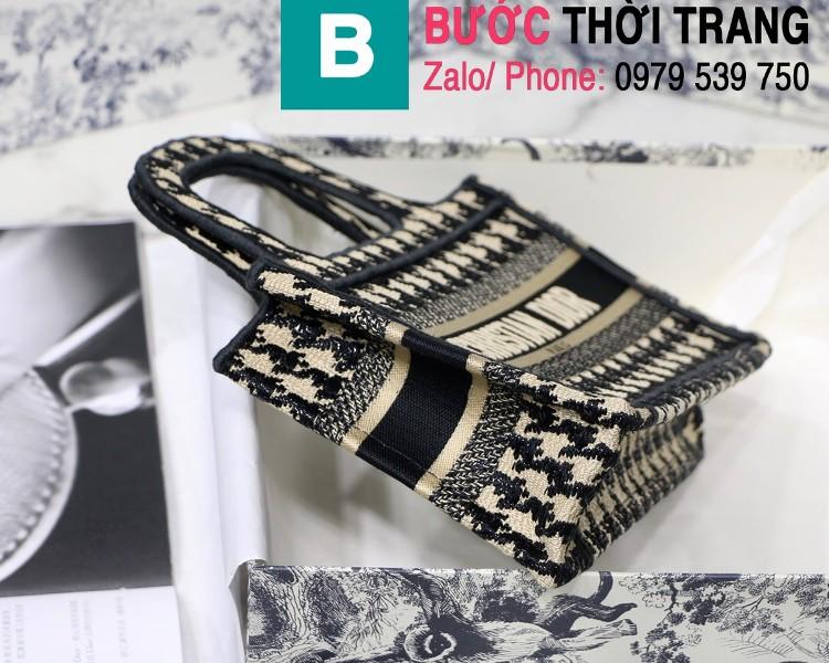 Túi xách Dior Book Tote mini siêu cấp chất liệu vải casvan màu 3 size 23cm